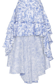 Giulia asymmetric ruffled cotton-blend toile skirt