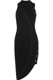 Versace Asymmetric stretch-cady dress