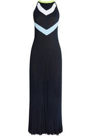 Intarsia ribbed-knit midi dress