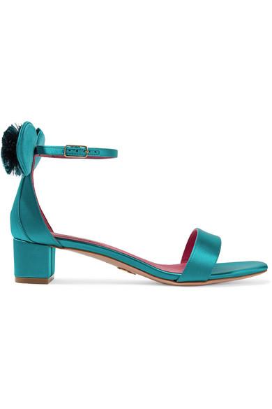 Oscar Tiye - Minnie Satin Sandals - Teal