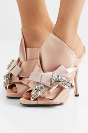 Embellished knotted satin mules