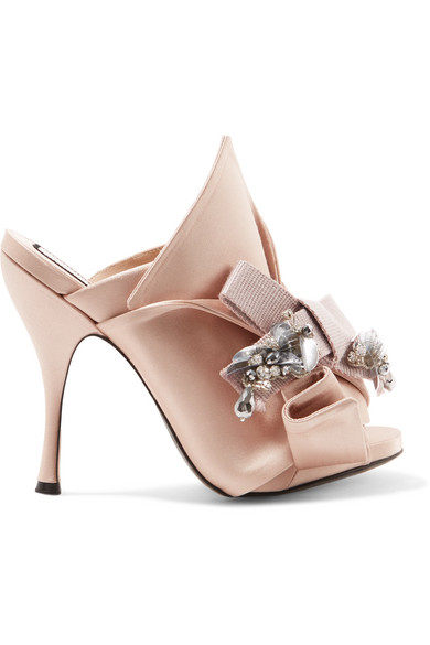 No21 Embellished knot front mules GO2n0