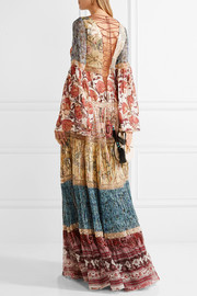 Roberto Cavalli Embellished printed fil coupé silk-blend chiffon gown