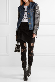 Printed denim and faux leather jacket
