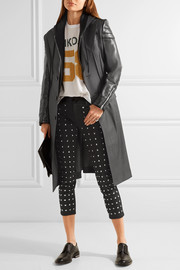 Quilted faux leather-paneled wool jacket