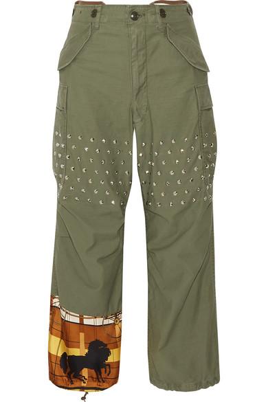 Junya Watanabe - Printed Satin-paneled Studded Cotton-blend Wide-leg Pants - Army green