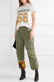 Printed satin-paneled studded cotton-blend wide-leg pants