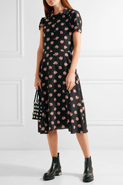 Junya Watanabe Layered floral-print crepe de chine and cotton dress
