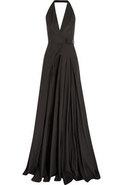 Leather-trimmed cotton halterneck gown