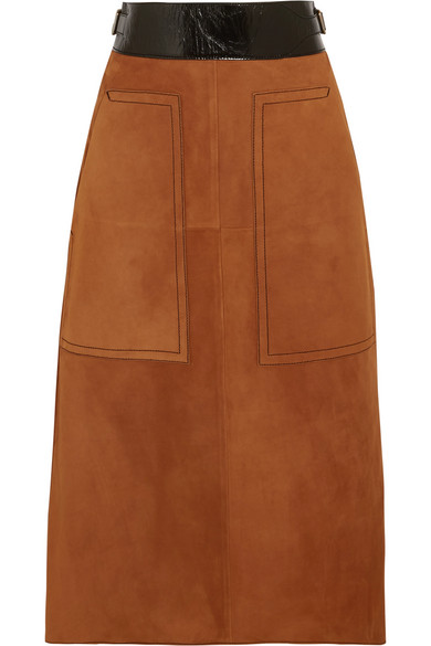 Bottega Veneta - Cracked Leather-trimmed Suede Midi Skirt - Camel