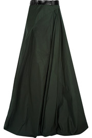Belted cotton-poplin maxi skirt
