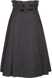 Bottega Veneta Leather-trimmed pleated denim midi skirt