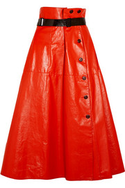Belted glossed-leather midi skirt