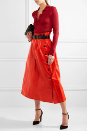Bottega Veneta Belted glossed-leather midi skirt