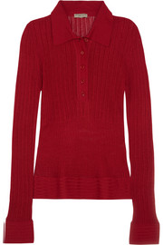 Bottega Veneta Pointelle-knit ribbed cotton sweater
