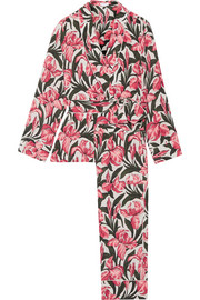 Odette printed washed-silk pajama set