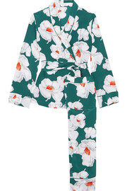 Odette floral-print washed-silk pajamas