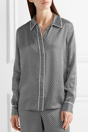 Shiloh printed washed-silk pajama shirt