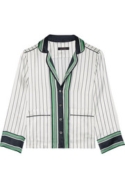 Kate Moss for Equipment Lake striped silk-satin pajama shirt