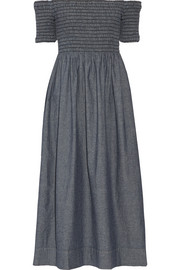 The Carnival off-the-shoulder shirred cotton-chambray midi dress