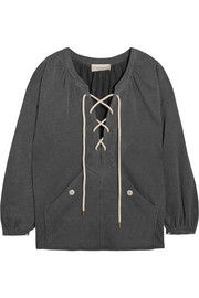 The Rope lace-up stretch cotton-blend jersey sweatshirt