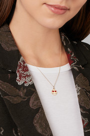Alison Lou Lovestruck enameled 14-karat gold necklace