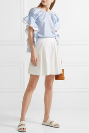 Adeam Pleated jacquard-knit shorts