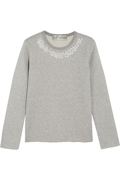 Comme des Garçons Comme des Garçons - + Jupe By Jackie Faux Pearl-embellished Cotton-terry Sweatshirt - Gray