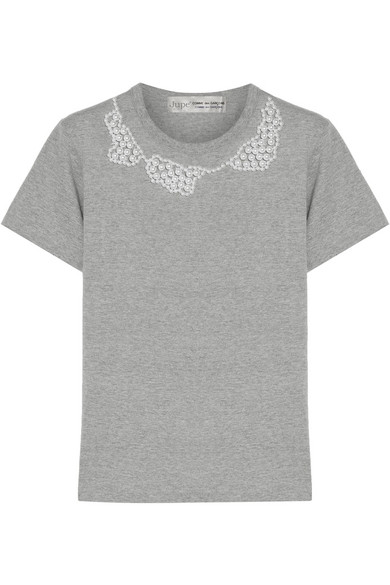 + Jupe By Jackie faux pearl-embellished cotton-jersey  T-shirt