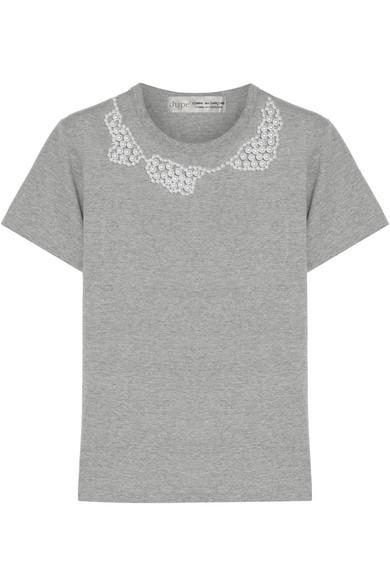 Comme des Garçons Comme des Garçons - + Jupe By Jackie Faux Pearl-embellished Cotton-jersey T-shirt - Gray