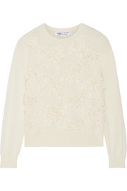 Bow-appliquéd wool sweater