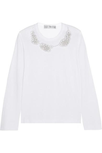 Comme des Garçons Comme des Garçons - + Jupe By Jackie Faux Pearl-embellished Cotton-jersey Top - White