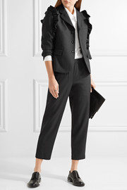 Ruffle-trimmed pinstriped wool blazer