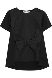 Bow-embellished satin and cotton-jersey T-shirt