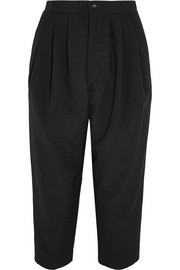 Cropped pleated wool tapered pants