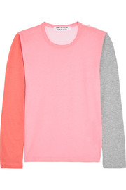 Color-block cotton-jersey top