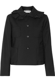 Ruffled wool-crepe jacket