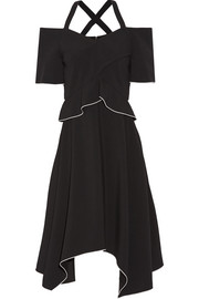 Cold-shoulder crepe dress