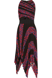 Asymmetric cutout printed plissé-cloqué dress