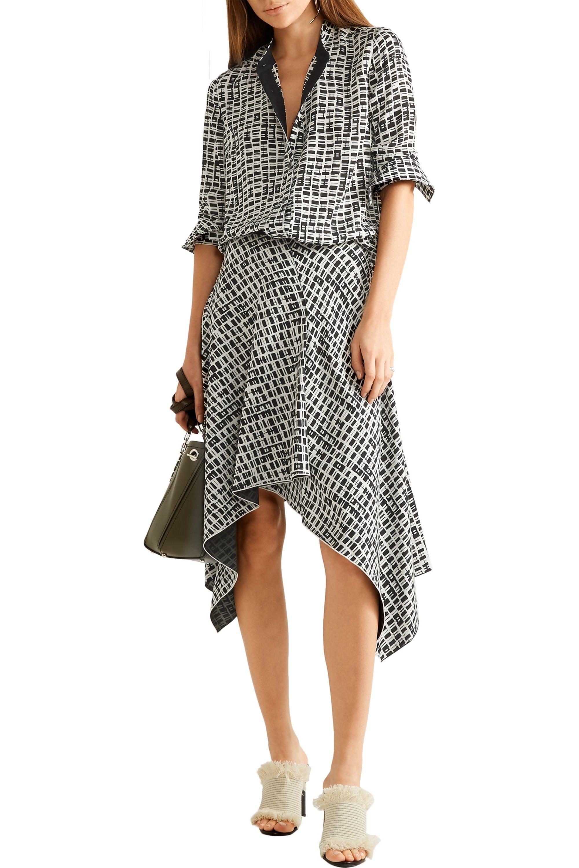 Proenza Schouler Asymmetric printed silk skirt