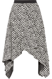 Asymmetric printed silk skirt
