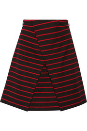 Wrap-effect striped cotton and wool-blend jacquard mini skirt