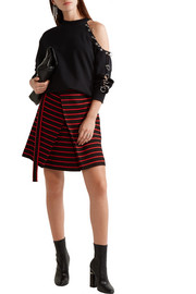 Proenza Schouler Wrap-effect striped cotton and wool-blend jacquard mini skirt