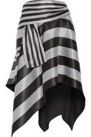 Asymmetric striped jacquard skirt