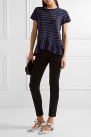 Proenza Schouler Striped cotton-jersey peplum top