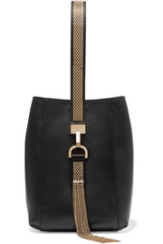 Chain-trimmed leather wristlet bag