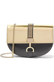 Lanvin Lien metallic-paneled leather shoulder bag