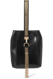 Embellished python and leather wristlet bag