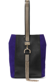 Lanvin Embellished leather and suede wristlet bag