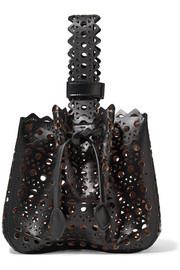 Vienne laser-cut leather bucket bag